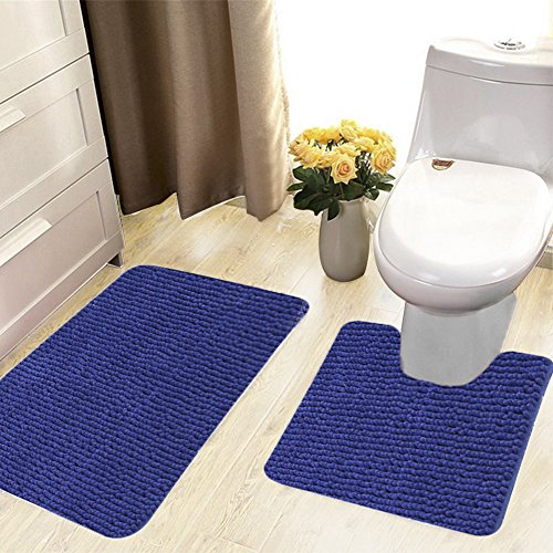 Best 2 Piece Bathroom Rug Sets For Shag Bath Rug And Microfiber Toilet Rugs  Navy Blue