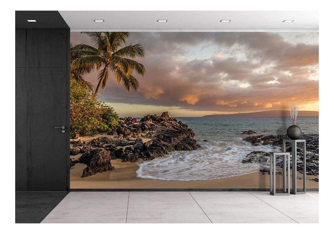 Tropical Seascape with Palmtree and Clear Sea - Removable Wall Mural