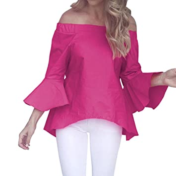 d97ba8010d82ae Image Unavailable. Image not available for. Color  Snowfoller Sexy Women  Slash Neck Blouse Casual Flare Sleeve Off Shoulder Irregular Hem Loose Tops  Summer