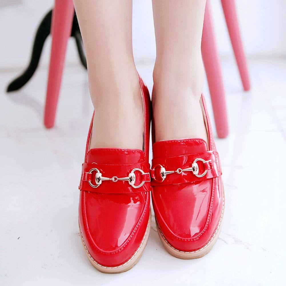 DecoStain Womens Patent Leather Tassel Loafers Flat Work School Low Heel Shoes