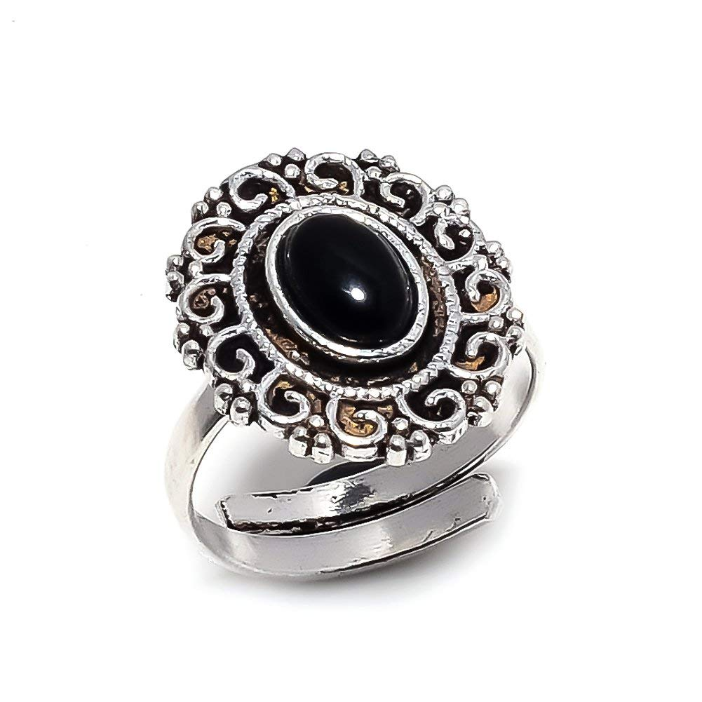 Sizeable Handmade Jewelry Best Gift for Girls Black Onyx Silver Plated 4 Grams Ring 5 US