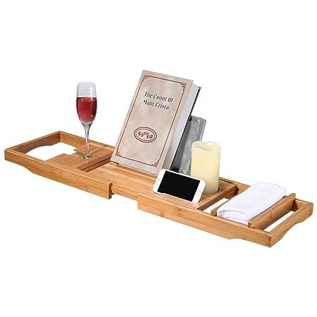 LANGRIA Bathtub Rack Bathroom Storage Bamboo Bath Caddy for Reading ...