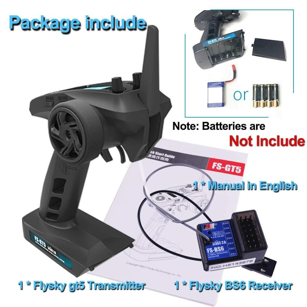 Amazon com: Xiangtat Flysky FS-GT5 6CH RC Transmitter with FS BS6