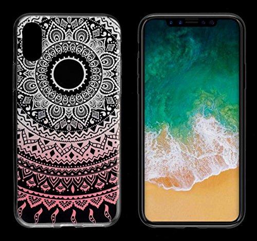Coque iPhone X, Yayago Coque de protection ultra-fine (0,8mm) pour Apple iPhone X silicone transparent avec motif Mandala