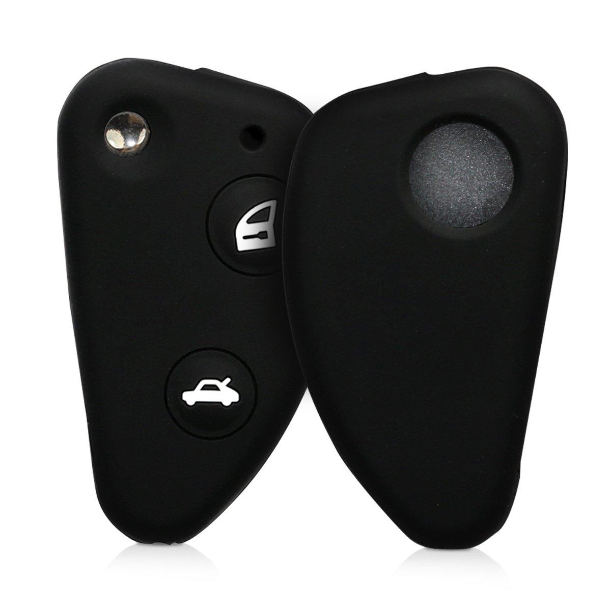 Carcasa Protectora Suave de Silicona Case Mando de Auto Negro kwmobile Funda de Silicona para Llave Plegable de 3 Botones para Coche Alfa Romeo