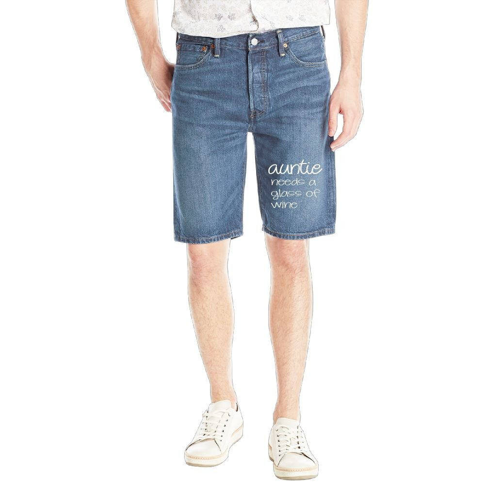 Auntie Needs A Glass of Wine 1 Mens Casual Short Denim Jean Pants Cool Casual Jeans Trousers RoyalBlue