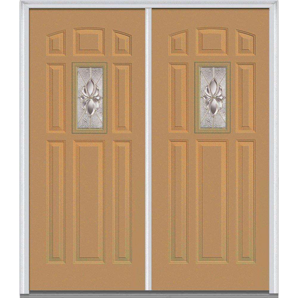 National Door Company Z016300L Steel, Sandal, Left Hand In-swing, Exterior Prehung Door, Heirloom Master Center Lite 8-Panel, 64''x80''