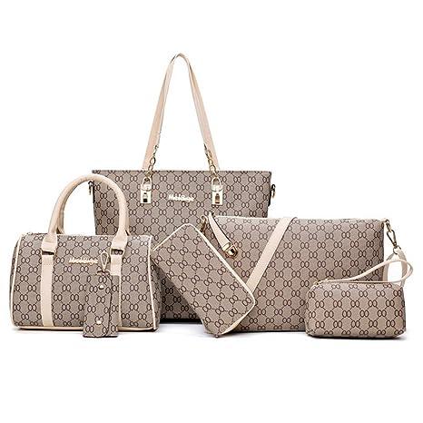 6de477cd42 Set PU Borse Donna Pelle 6 pezzi borsetta pelle tracolla elegante vintage  retrò casual viaggio Borse