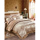 ZQ Fashion personality style Brown Luxury Silk Cotton Blend Duvet Cover Sets Queen King Size Bedding Set , queen