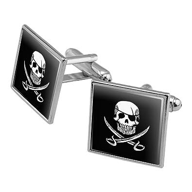 26ff9c92b3e3 Pirate Skull Crossed Swords Tattoo Design Square Cufflink Set Silver Color