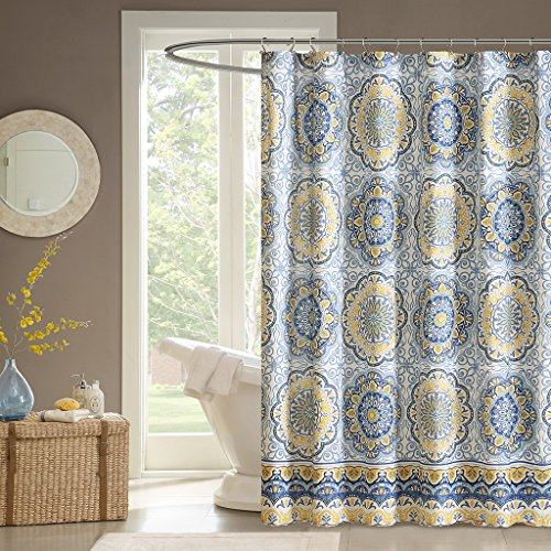 yellow and blue shower curtain - 1