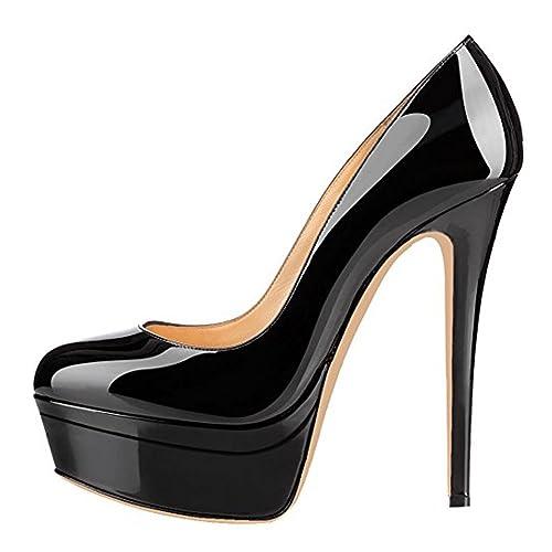 be7284030f69 onlymaker Women s Fashion Super High Heel Slip On Stiletto Pump Double  Platform Closed Toe Wedding Party