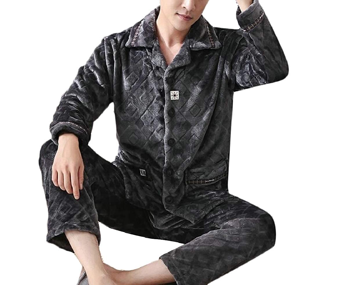 pujingge Men Pajamas Set Thickened Warm Flannel Autumn Winter Home Service