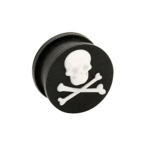 Blue Banana Body Piercing Dilatación Silicona Skull & Crossbones Ear Plug (Negro) - 6-20mm (Calibre/Grosor)