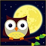 """Diy oil painting, paint by number kits for kids - Owl and yellow moon 8""""X 8""""."""