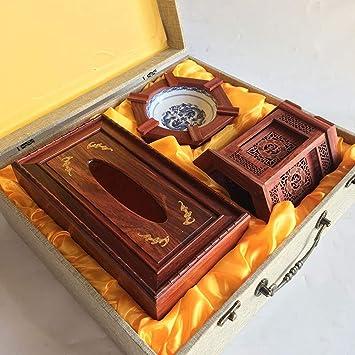 Shopffiy Caja de servilletas de Madera Maciza Caoba Caja de cenicero Caja de Regalo Titular de la Pluma (Tres Juegos): Amazon.es: Hogar