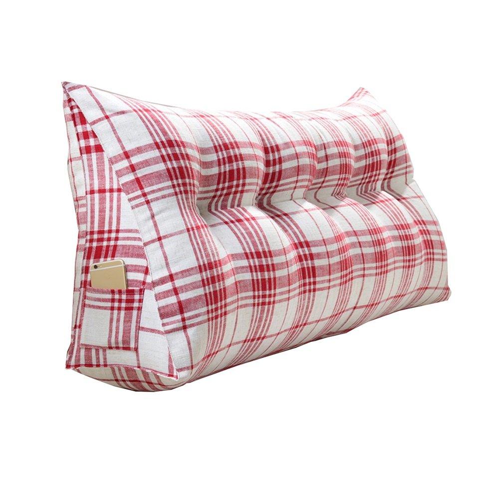 ファッション格子のベッドサイドの厚いクッション三角枕と長い背もたれ取り外し可能で洗濯可能なウエストピロー/レディング枕 (色 : Red, サイズ さいず : 120 * 50 * 20cm) B07DK8D94N 120*50*20cm Red Red 120*50*20cm