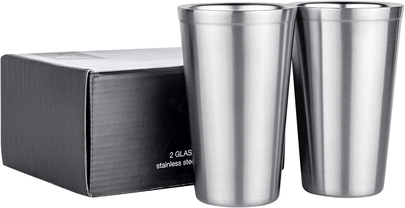 Pint Glasses Set of 2 Stainless Steel, Double Wall 16 oz Stainless Steel Tumbler, Stainless Steel Cups for Beer,Cocktails, Coffee, Tea,Smoothies,Gift for Kids and Adults