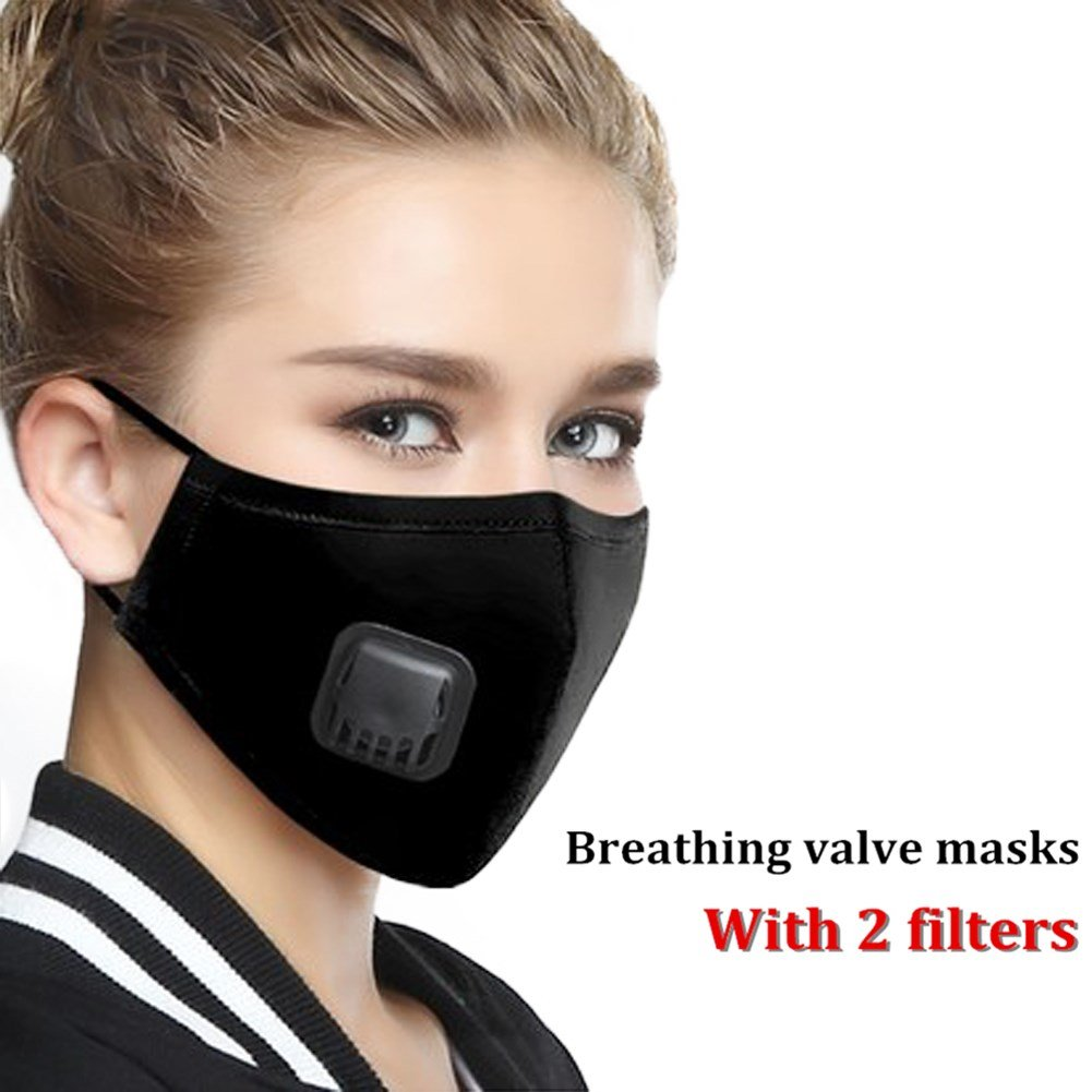 ZWZCYZ Anti Pollution Mask Dust Mouth Mask N95 Washable Respirator with Adjustable Straps Allergy / Asthma / Travel / Cycling / Men / Women / China(Mask + 2 Filters) (Medium(women's), Black) by ZWZCYZ