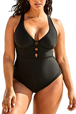 4b3cec6fa38 FlatterMe Women's Sexy Plus Size Black One Piece Swimsuit,Plunge Neckline  with Lace Up Detail