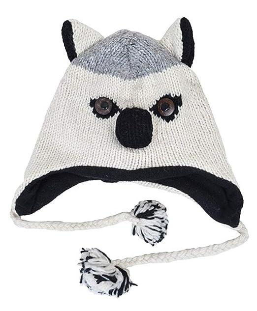 Top Husky Stuffed Animal Hat Knitted Wool Fleece Fur Plush 3d Cute
