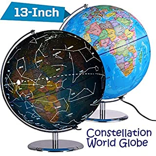 ZUEDA 13 Inch Cartography Illuminated World Globe, Desktop LED Star Constellation Globe with Steel Stand, 3-in-1 Exploration Earth Globe for Kids