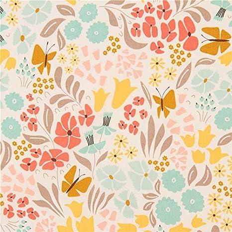 Tela algodón orgánico crema claro Park life floral flor colores hojas Cloud 9: Amazon.es: Hogar