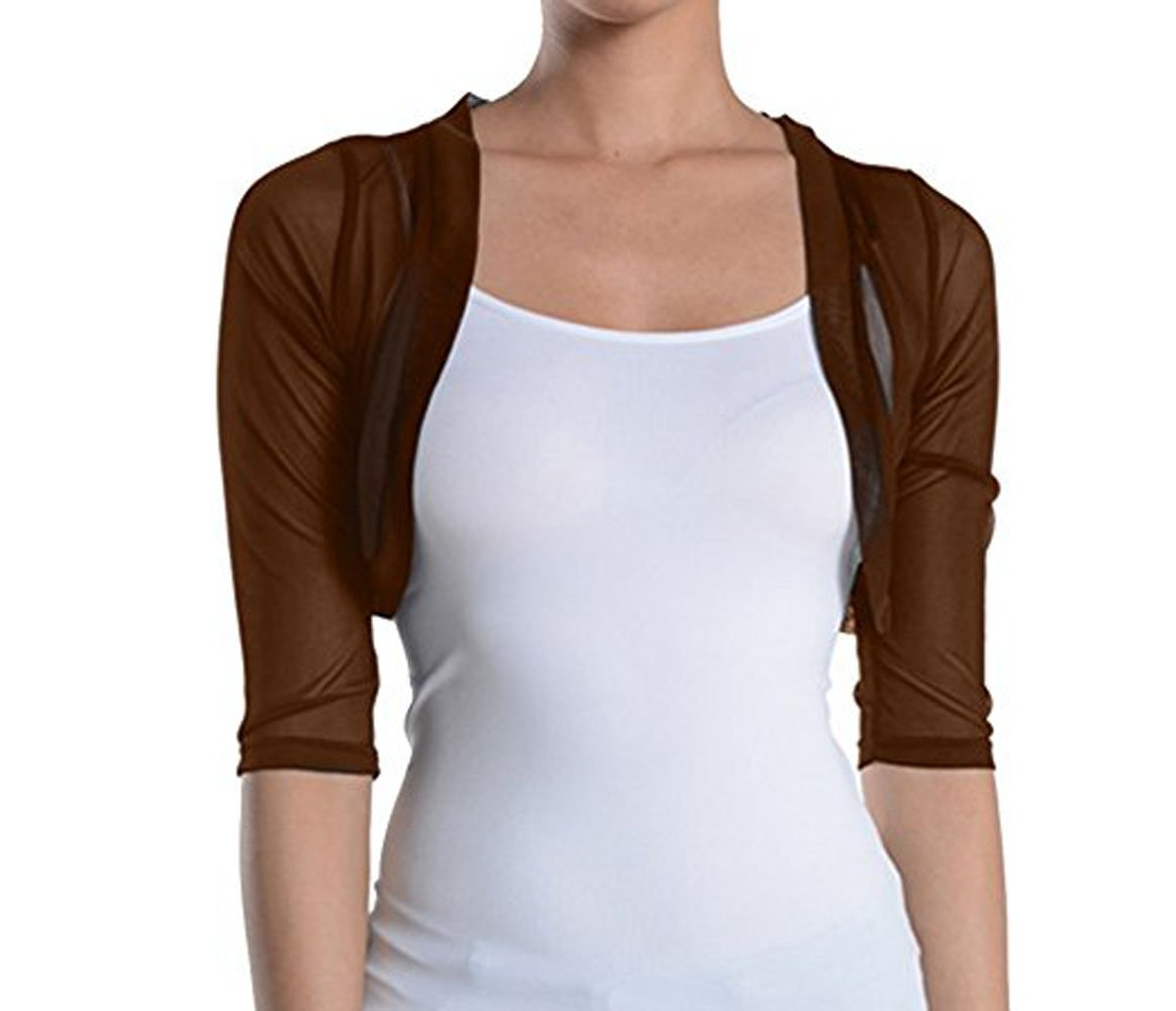 Fashion Secrets Women's Sheer Chiffon Bolero Shrug Jacket Cardigan 3/4 Sleeve