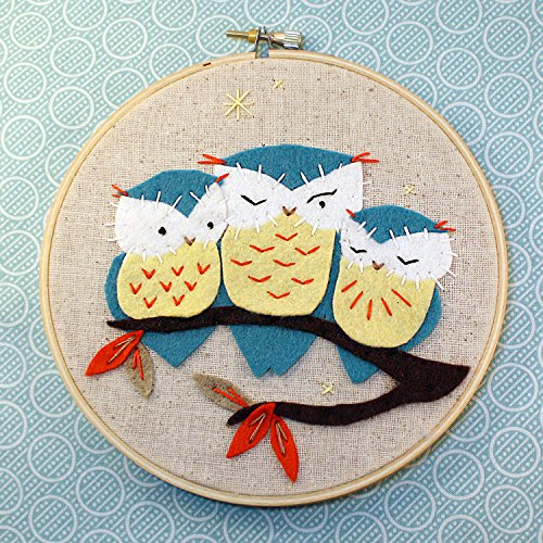 Heidi Boyd | Hoot Owls | Whimsy Stitches Hoop Kit | Create These Adorable Owls Sitting on a Branch with This Easy to Sew Appliques and Embroidery Kit by Boyd, Heidi