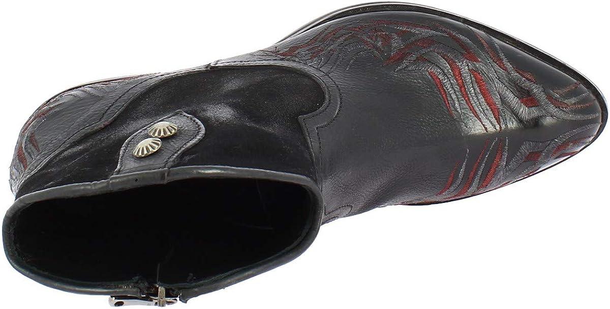 Leonardo Shoes Stivaletti Texani Donna Fatti A Mano Pelle E Camoscio Nero Rosso - Codice Modello: 2017 Incas