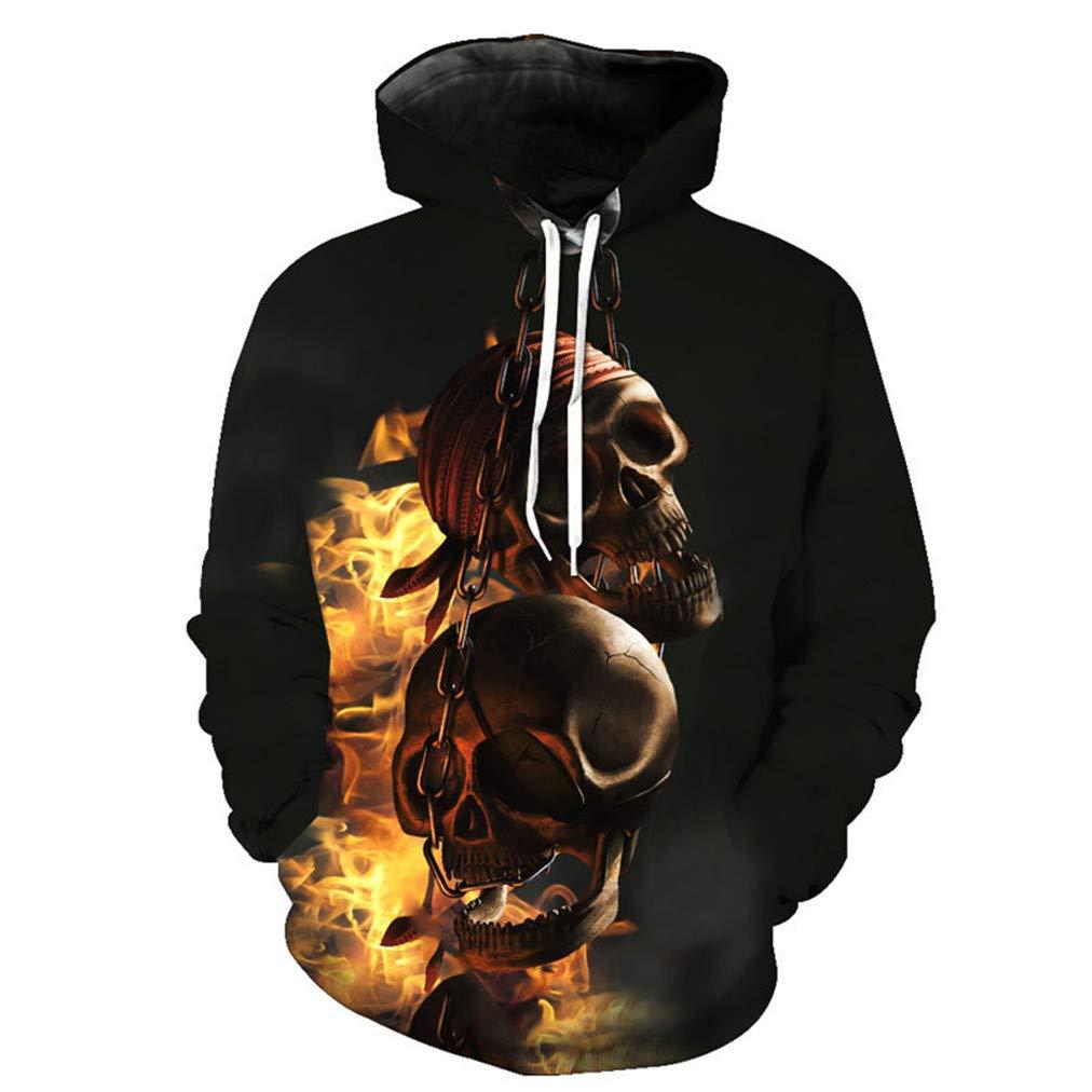 Fire Skull Casual Sudaderas con Capucha 3D Sudaderas Hombre ...