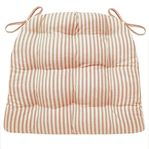 Dining Chair Pad with Ties - Red Ticking Stripe - Size Extra-Large - Reversible, Tufted, Latex Foam Fill (XL)