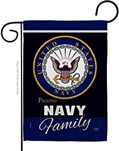 Breeze Decor Navy Proudly Family Garden Flag Armed Forces USN Seabee United State American Military Veteran Retire Official Small Decorative Gift Yard House Banner Double-Sided Made in USA 13 X 18.5