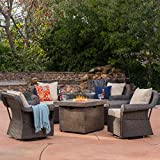 GDF Studio Augusta Patio Furniture ~ 5 Piece Outdoor Wicker Swivel Rocker and Propane (Gas) Fire Table (Pit) Set