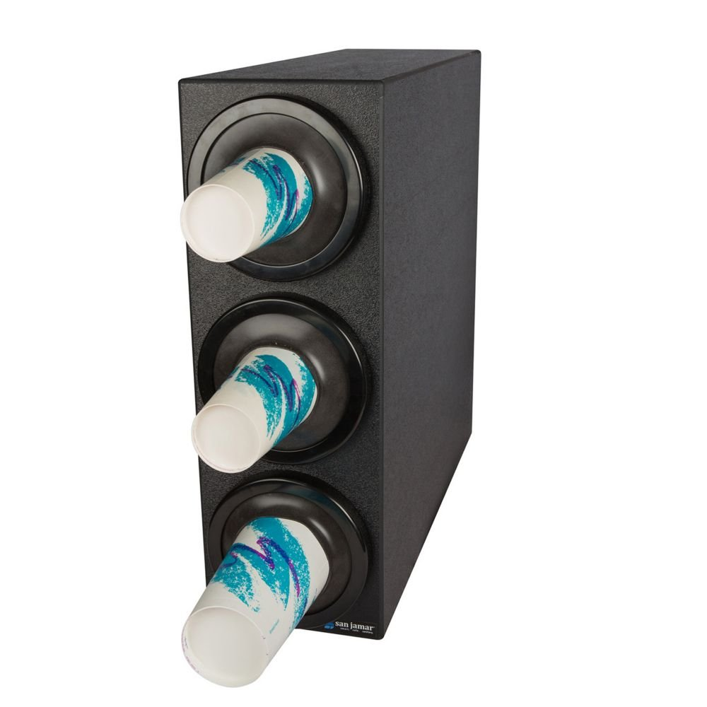 San Jamar C2903 EZ-Fit Beverage Dispenser with Black Trim Rings, Black