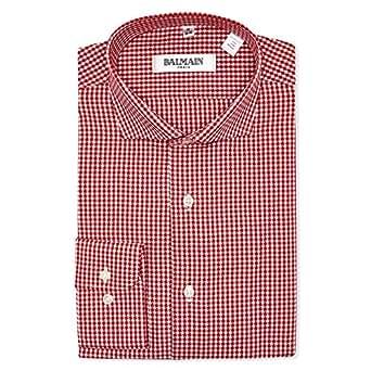 Balmain Red & White Shirt Neck Shirts For Men