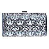 FstFshion Luxury Crystal Evening Bag Rhinestone Clutch Purse Faux Pearl Womens Party Handbag