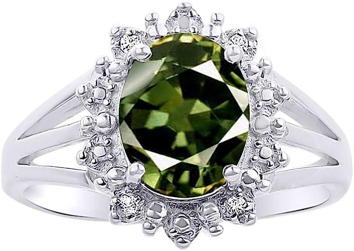 Diamond /& Amethyst Ring Set In Sterling Silver .925 Halo Princess Diana Inspired Designer Stylish