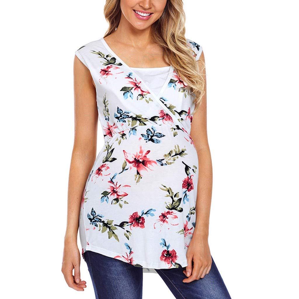 Mutterschafts T-Shirt Umstandsmode Bluse Stillen Baby Sommer Drucken Umstandshirt Unterhemd Tops Schwangerschaft Basic Stillzeit Bauchfrei Oberteile