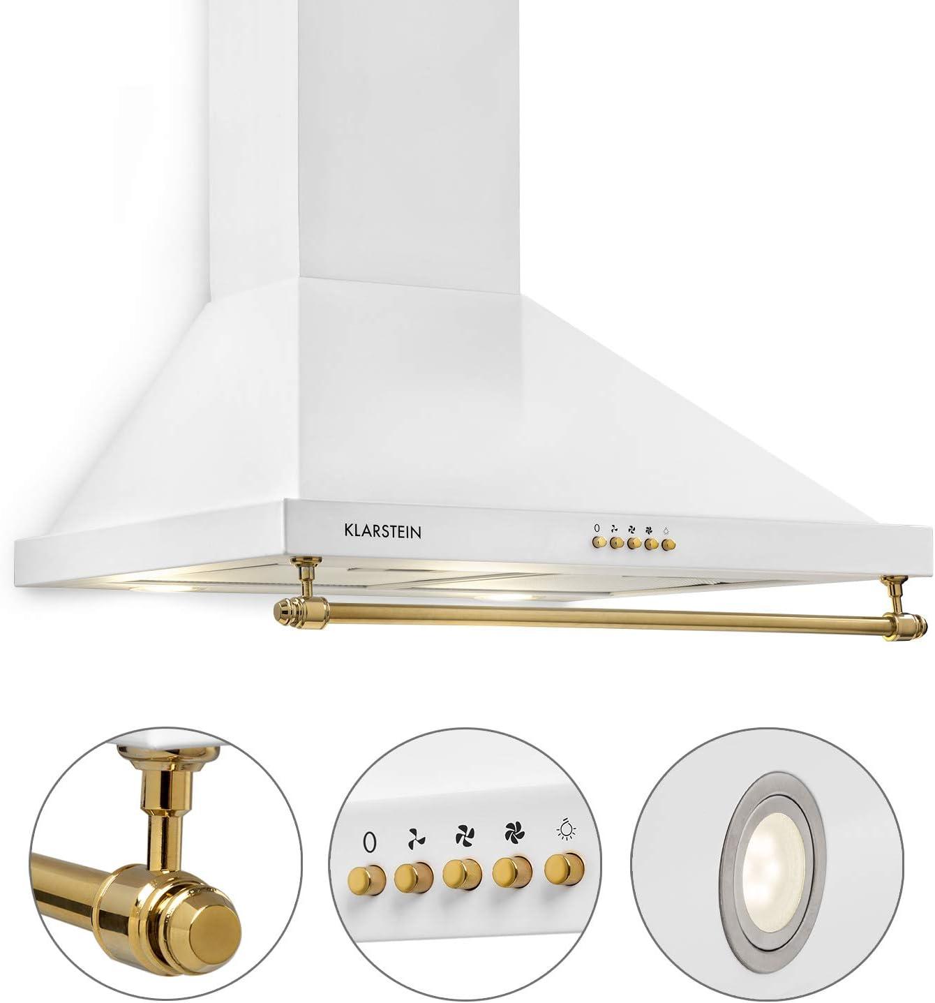 Klarstein Montblanc 60 - Campana extractora de pared, Succión y circulación de aire, 3 niveles, Succión de hasta 610m³/h, Juego montaje incluido, Anchura de 60 cm, Filtro de aluminio, Blanco