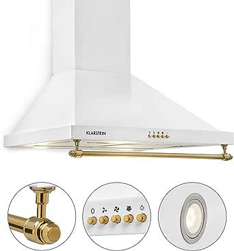 Klarstein Montblanc 60 - Campana extractora de pared, Succión y circulación de aire, 3 niveles, Succión de hasta 610m³/h, Juego montaje incluido, Anchura de 60 cm, Filtro de aluminio, Blanco: Amazon.es: Grandes electrodomésticos