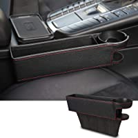 Lavmar Car Seat Pocket, PU Leather Seat Gap Filler Console Side Organizer Storage Box with Cup Holder - Black (1 Pc)