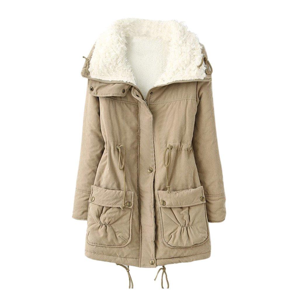 Frauen Kleidung Loveso Jackets Einfarbig Falten Dünn Faux Pelz Damen Daunenjacke Langarm Casual Streetwear Winterjacke Blusen