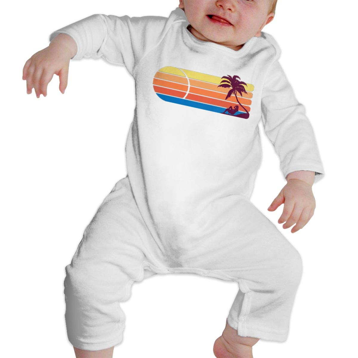 NFtrend Beachside Sunset Unisex Baby Long Sleeved Rompers Soft Toddler Jumpsuit
