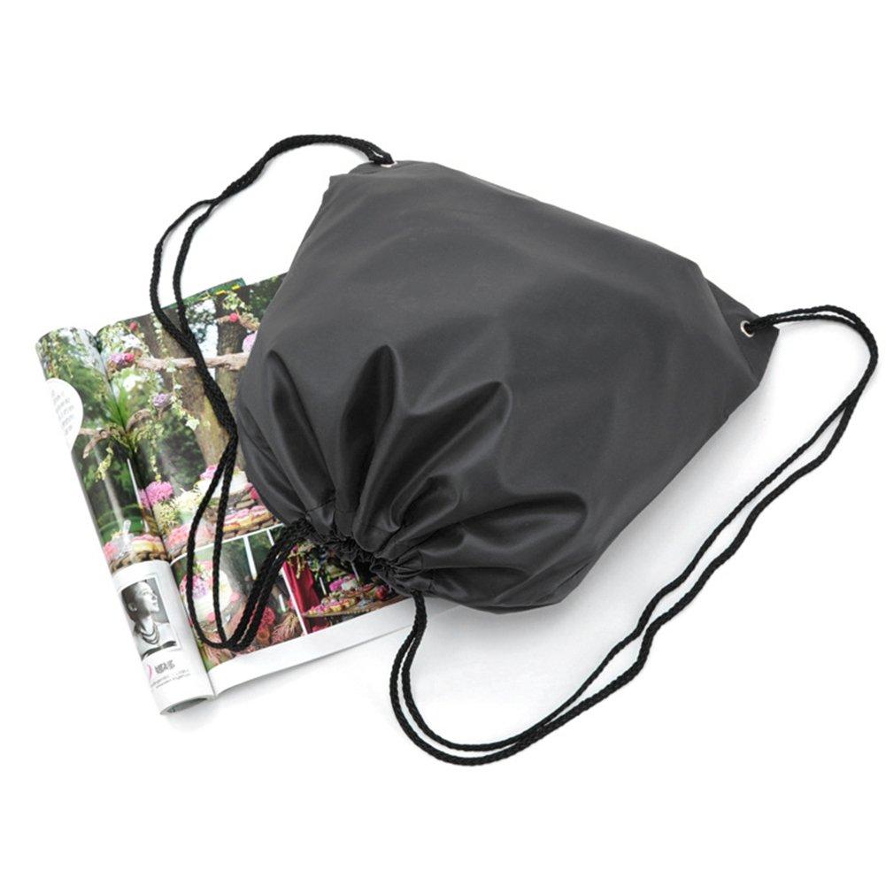 BINGONE Drawstring Bag Folding Backpack Storage Black by BINGONE (Image #3)
