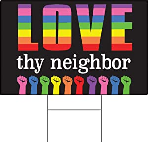 """Tees & Tails Love Thy Neighbor 12"""" x 18"""" (Stake Included) Peace Love Equality Justice Fist Lawn Sign"""