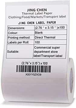 """100 Labels//Roll /… Label Printing JINGCHEN Thermal Label Paper Print with B11//B3 Widely Used in Inventory//Food//Supermarkets//Clothing /& Shoes /& Hats 2.76""""x3.15"""""""