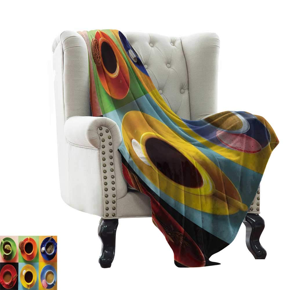 Anyangeight Kitchen, Throw Blanket,Cups of Coffee Tea Hot Chocolate on Colorful Background with Tasty Deserts Biscuits 50''x30'',Super Soft and Comfortable,Suitable for Sofas,Chairs,beds