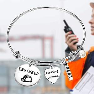 Lywjyb Birdgot Mechanical Engineer Gift Mechanic Gift Female Engineer Gift She Believed She Could So She Did Mechanic Girl Bracelet Mechanics Student Gift Graduation Gift for Her