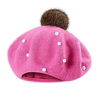 ec66d7c98b64 Mamum Mignon Bébé Hiver Chaud Bambin Enfant Tricot Crochet Bonnet Chapeau  Enfant Fille (Rose Chaud